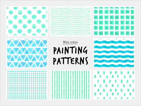 Hand-drawn pattern of mint color