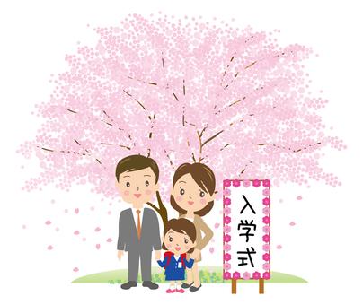 桜の木と入学式女子親子