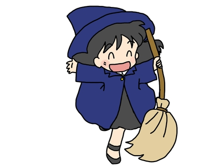 A witch with a broom