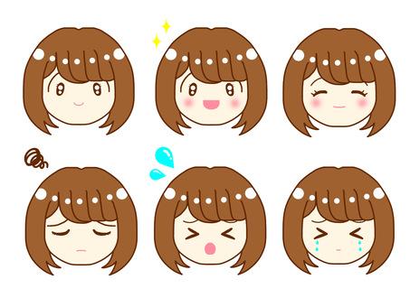 Female facial expression set