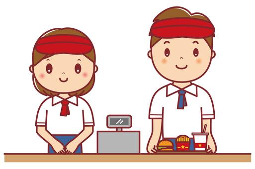 Hamburger shop clerk Men and women set