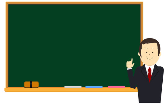 Men in suits with blackboard Vector