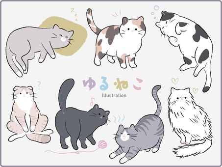 Hand-drawn loose cat set