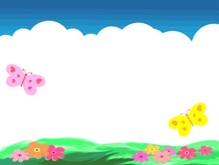 A butterfly dancing flower blooming grassland and clouds