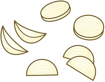 Cut onions (round slices, comb slices, etc.)