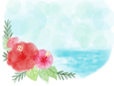 Watercolor style hibiscus