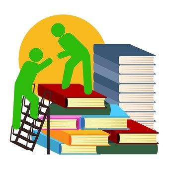 A person climbing a mountain of books