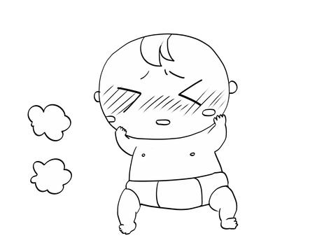 아기 발열 흑백
