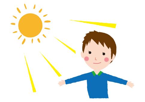 A man in the sun's light