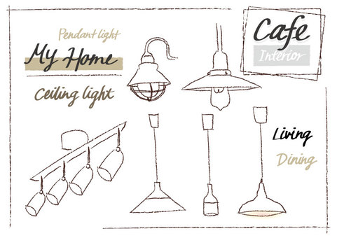 Lighting handwriting set monochrome