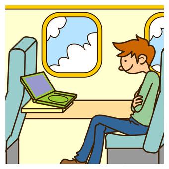 Men watching DVD in 222 aircraft
