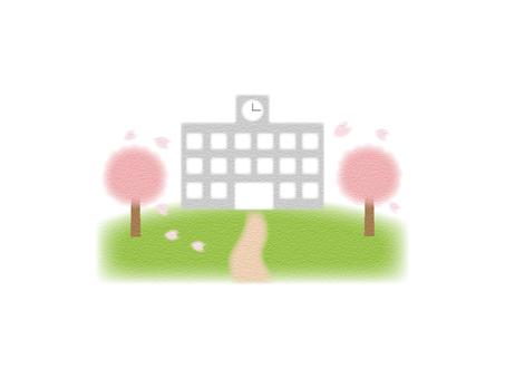 Illustration of school and cherry blossom