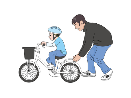 My son and dad who practices bicycles