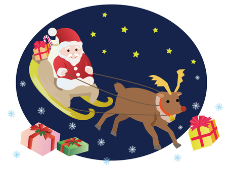 Santa Claus and reindeer running in the night sky