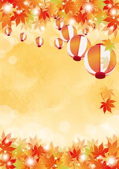 Autumn Festival Lantern and Autumn Leaves Vertical 2