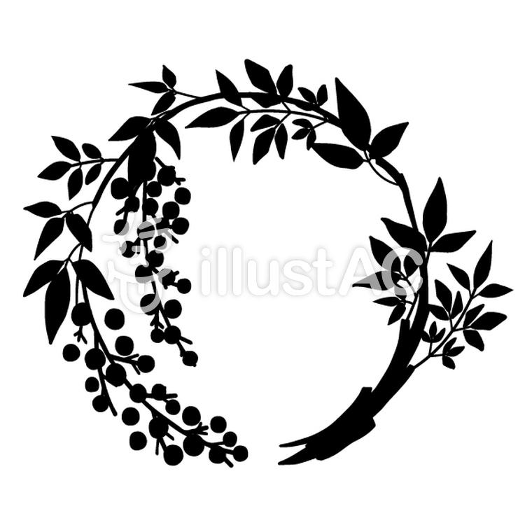 花丸紋様(単色/南天)のイラスト
