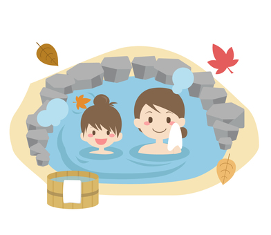 Outdoor bath with parent and child ♪
