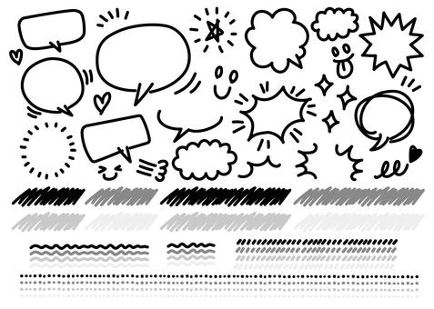 Handwritten balloon and set of materials 03
