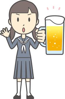 Junior high school sailor woman -103-whole body