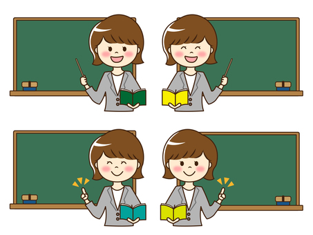 Illustration of female teacher (upper body) and blackboard