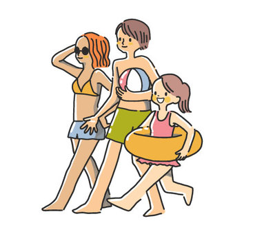 Family going out to sea bathing