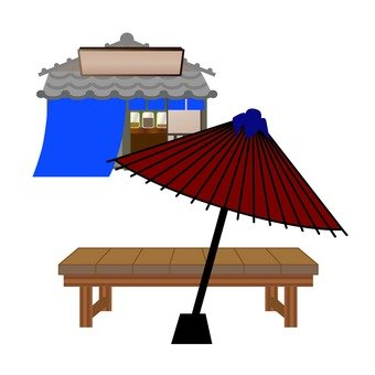 Points Resting place with an umbrella