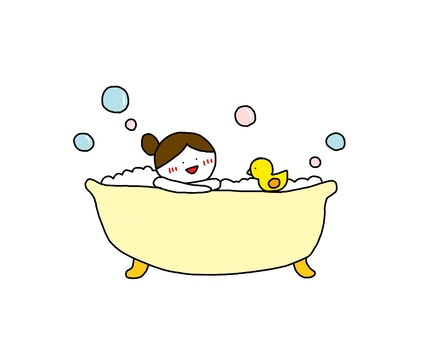 Girl taking a bath