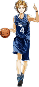 A boy in a basketball uniform