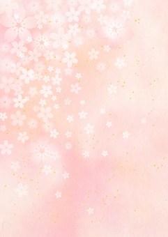 桜_淡いピンク_和紙背景_縦型1762