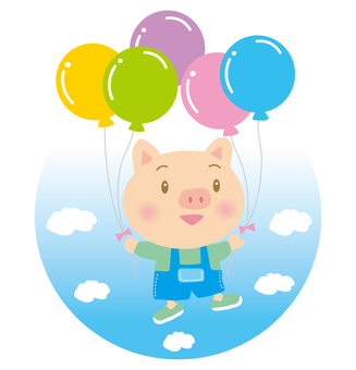 Balloon and little pigs