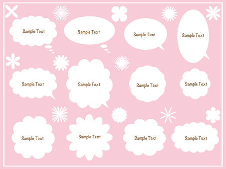 Set of flower icons with speech bubble