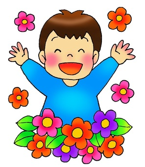 A boy surrounded by flowers