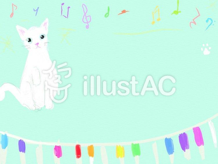 ネコとピアノのフレームのイラスト
