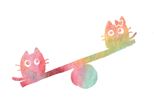 Rainbow-colored cat on a seesaw
