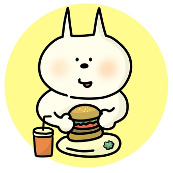 Cat eating hamburger 2