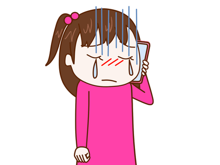 Girl 2 talking while crying on a smartphone