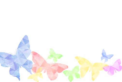 다각형 수채화 나비 엽서