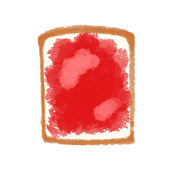 Bread, strawberry jam