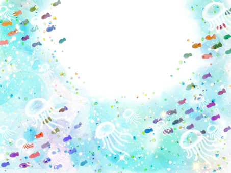 Watercolor frame of sea and fish and jellyfish