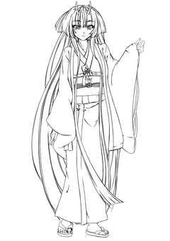 Kashima Maehime, Haori, long hair (line drawing)