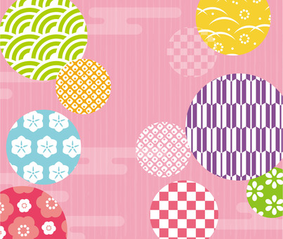 Japanese style round pink pattern texture