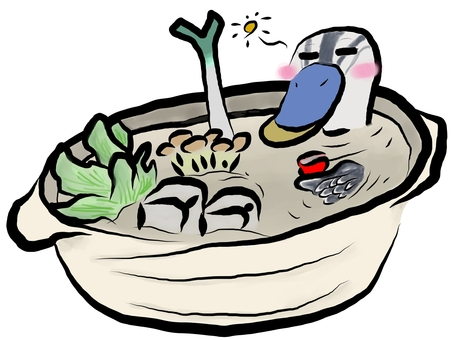 Duck and rice cake relaxing in a hot pot bath
