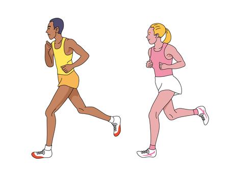 練習するマラソン選手たち