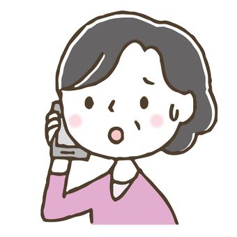 Cute middle-aged woman calling by smartphone / hand-painted