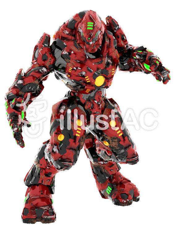 傷ついた戦闘ロボットのイラスト