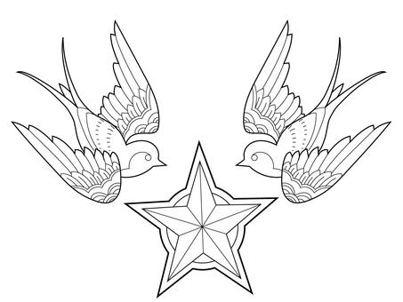 Tattoo undergrowth swallow