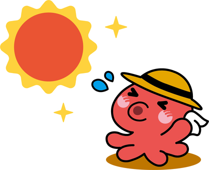 Octopus that the sun is hot and becomes octopus