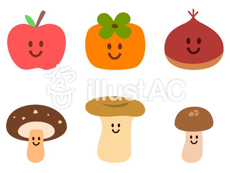 秋の食べものたちのイラスト
