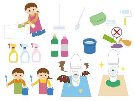 Toilet cleaning and cleaning tools