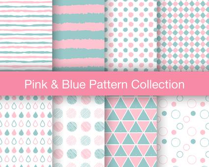 Seamless Pattern Set: Pink & Blue
